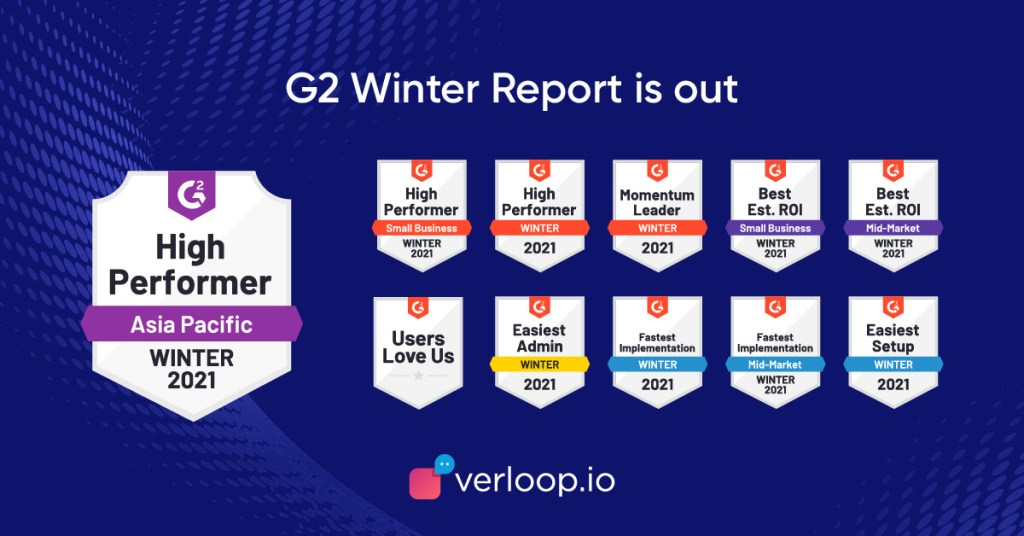 verloop.io's g2 badges for fall