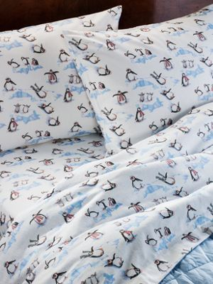 Lanz of Salzburg Flannel Sheets  Penguin Print Flannel