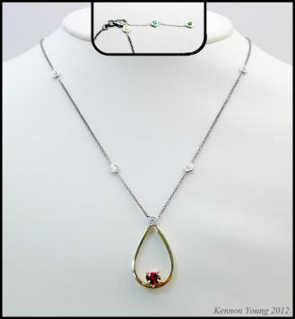 Custom tear drop gold and ruby pendant necklace