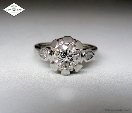 Sunflower themed diamond and white gold engagement ring