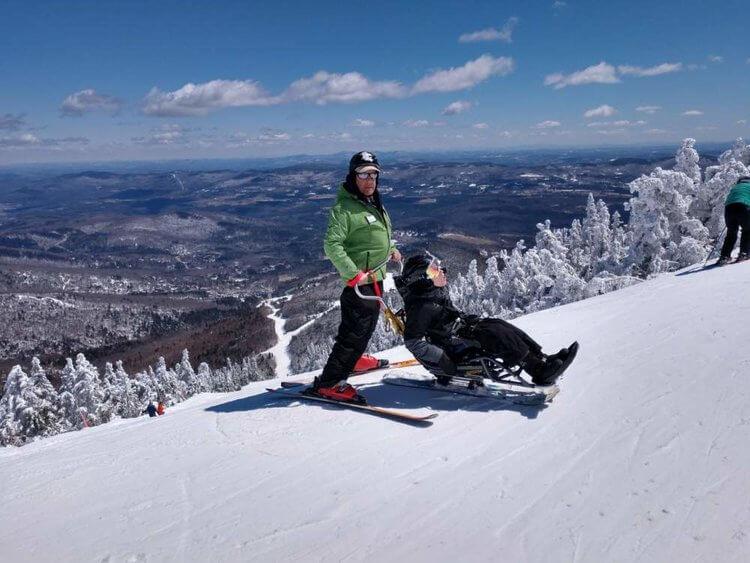 Gideon Bavly, April 2018 Instructing with Vermont Adaptive Ski & Sports