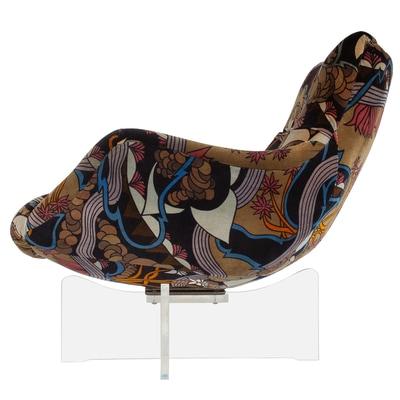 swivel lounge chairs chair gym argos pair of lucite base by vladimir kagan with original jack lenor larsen fabric vern vera