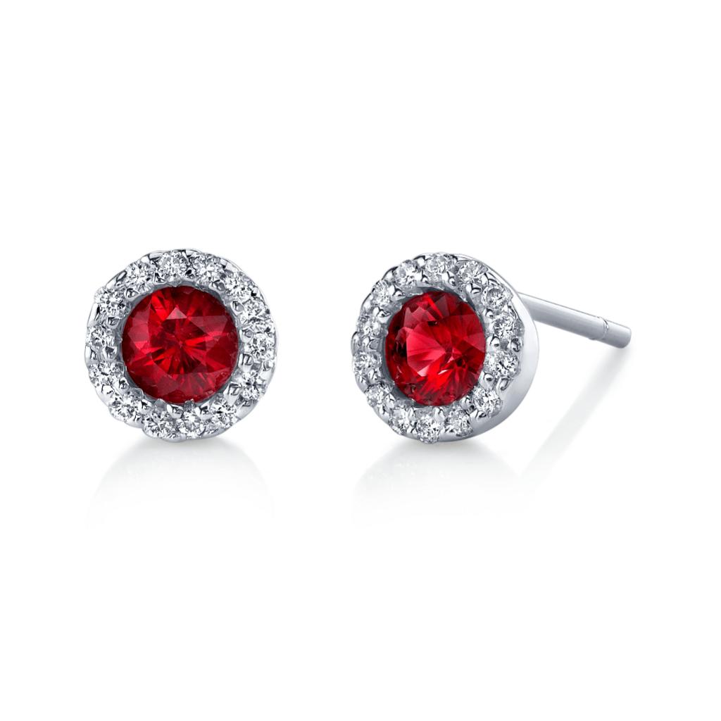 Ruby Diamond Halo Earrings