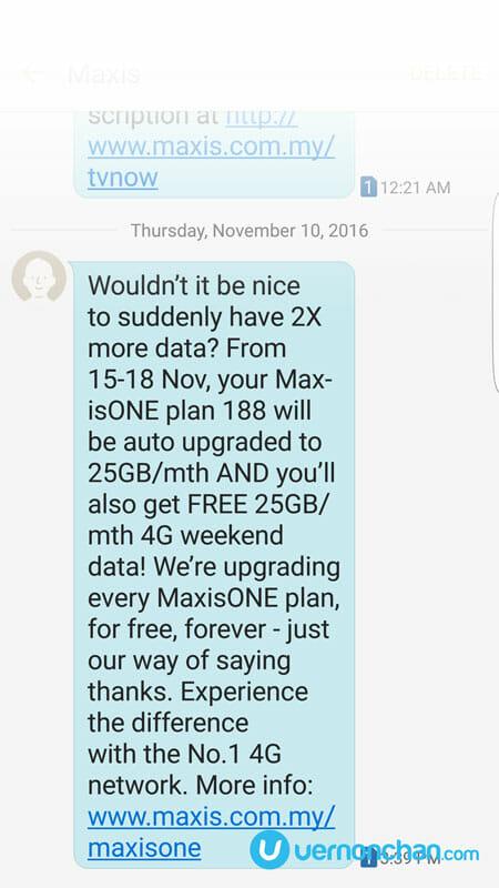 MaxisONE 2x SMS