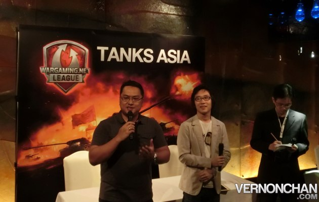(Left) Jasper Nicolas, GM Wargaming SEA and his translators, giving his speech during the press conference, a day before the Tanks Asia Masters Open Season Finals.