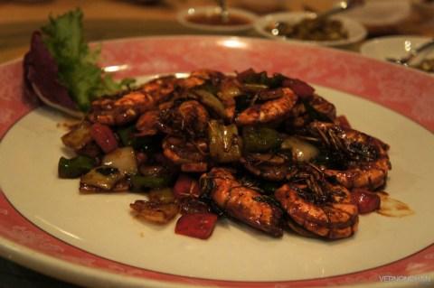 Sauteed Fresh Prawns with Black Pepper Sauce.