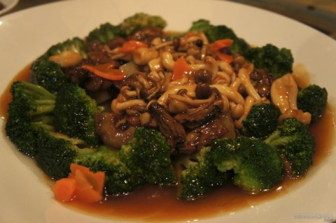 Braised Sea Cucumber with Mixed Mushrooms.