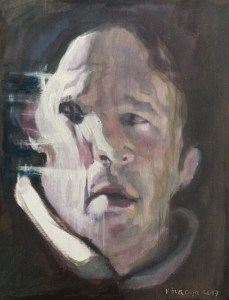 I captured an image of a true crime documentary where this character has homicidal impulses. As in other artworks, the painting circumscribes, in a close-up format, the deformed face of the personage. I do the latter to exalt his emotional disturbance.