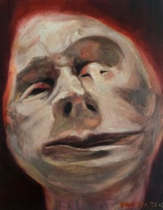 The artwork shows a frontal close-up of an anonymous character who might be in a deep slumber or on a forensic table. The closeness of this format invites us to disembowel its condition. Either way, its deformed face denotes a peaceful mood.