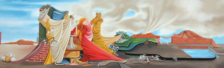 """Veronica and Oscar Dominguez 48x132"""" Oil on canvas, 2011  SOLD"""
