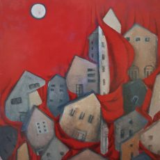 """And the Night came down 30x24"""" Acrylic on canvas, 2003  SOLD"""