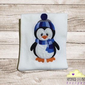 boy penguin blue appliqué embroidery baby gift baby shower gift