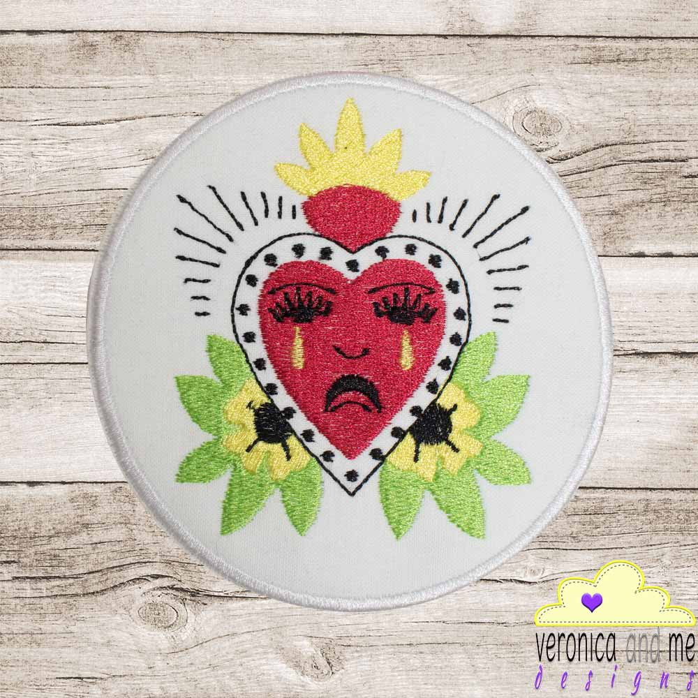 custom embroidery bridge the gap crying heart heart speak piece