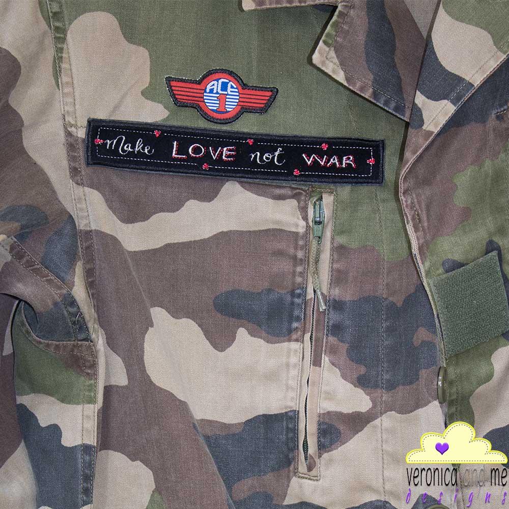 make love not war customised jacket heart speak bridge the gap project