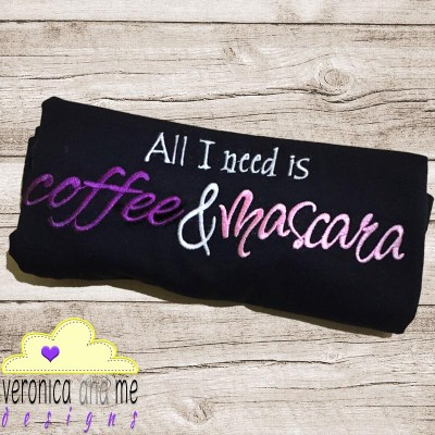 coffee and mascara embroidery design