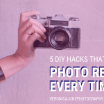 Hand holding a camera in an ad image for Cheap Photography Hacks