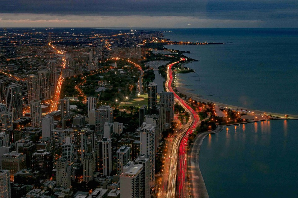 Image of Chicago shoreline taken using night photography settings