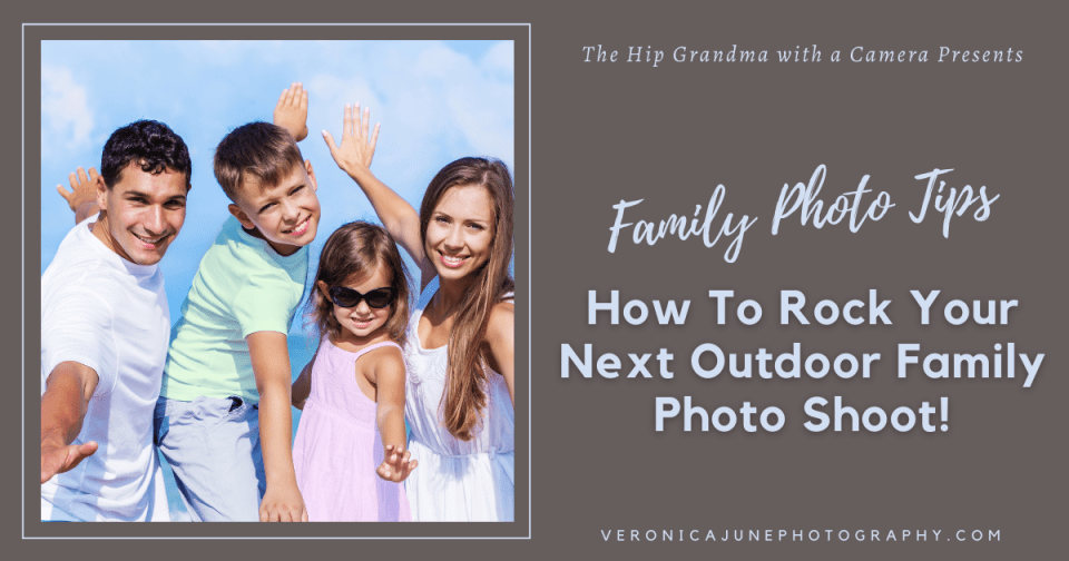 Ad image showing a family at an outdoor family photo shoot