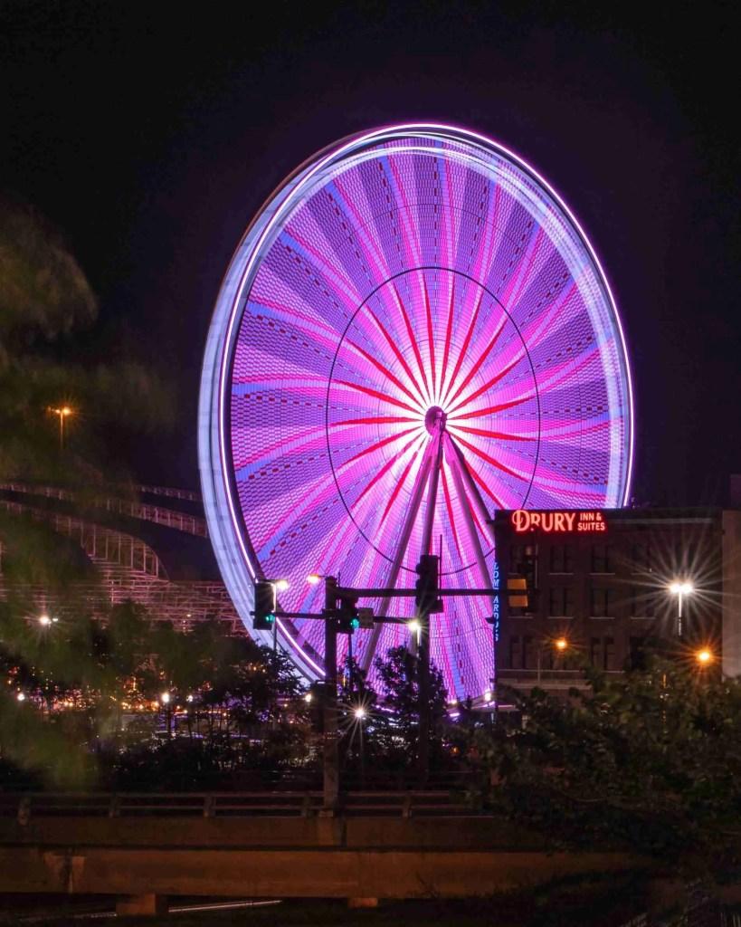 Pink Ferris Wheel taken with slow shutter for habit post
