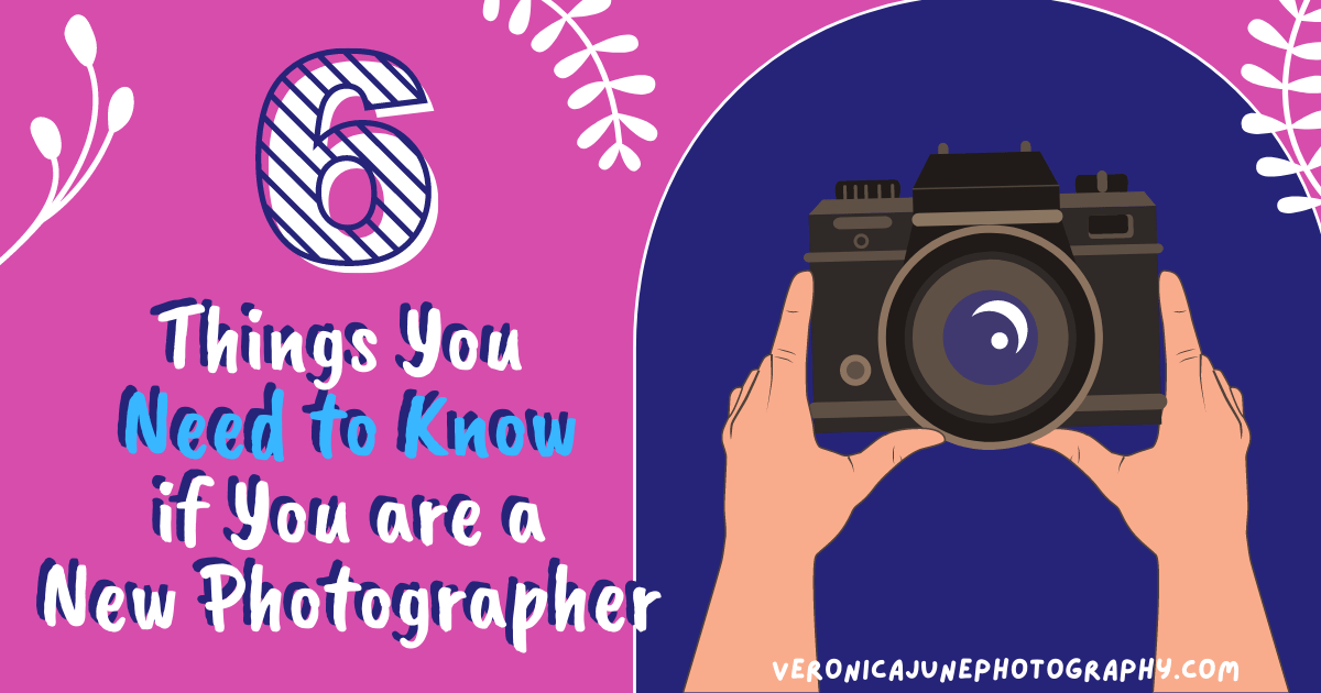 Pink & Blue background with hands holding a camera - AD image for New Photographer