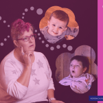 AD image of Hip grandma with pink hair with thought bubbles showing people, parenting, work