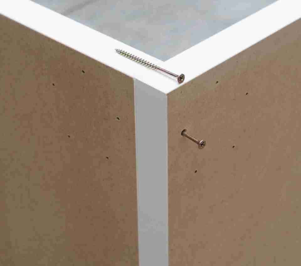 screws in position when building a photo box