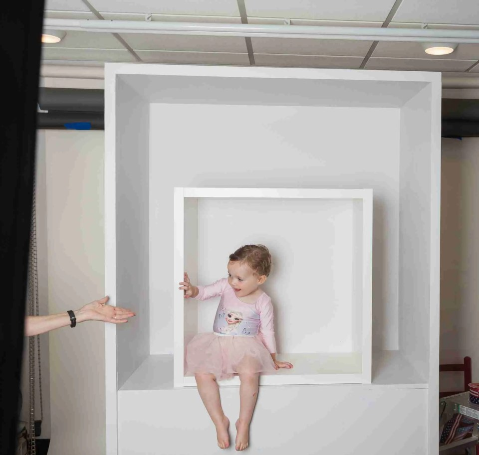 2 sizes of photo boxes with adult inside