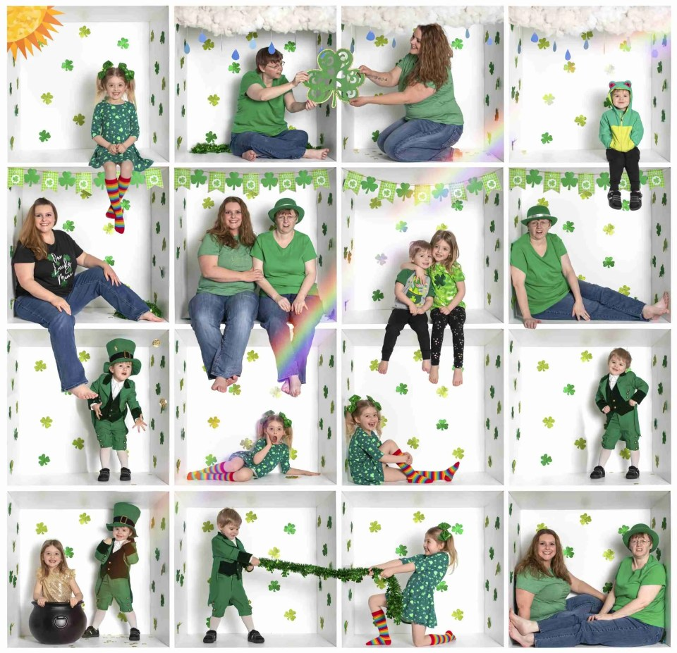 2 women and 2 children in a box photo for birthday celebration showing Creative In-The-Box Photography Idea