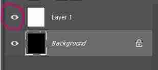 Photoshop screenshot showing how to toggle layer off and on