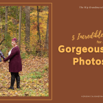 AD image for autumn photoshoot post showing a couple in fall leaves