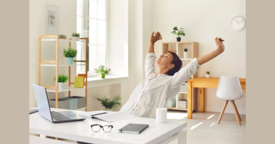 5 minute self care - woman stretching