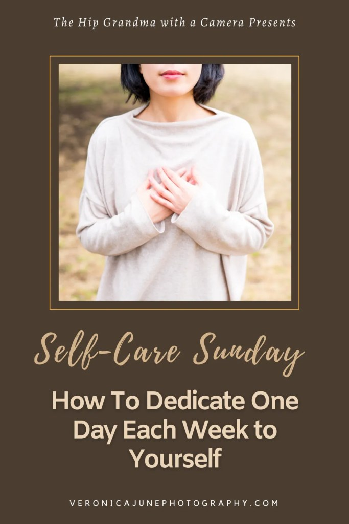 self care sunday pin image with woman and title