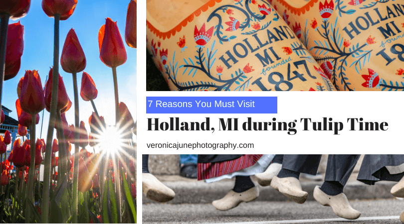 AD image for Seven Things to Visit during Tulip Time in Holland Michigan showing a wooden shoe and a tulip and Dutch dancers
