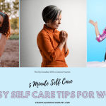Ad Image showing title of 5 minute self care with 3 images of women