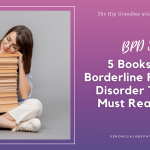 Ad Image for 5 Books for Borderline showing a woman sitting with a stack of books