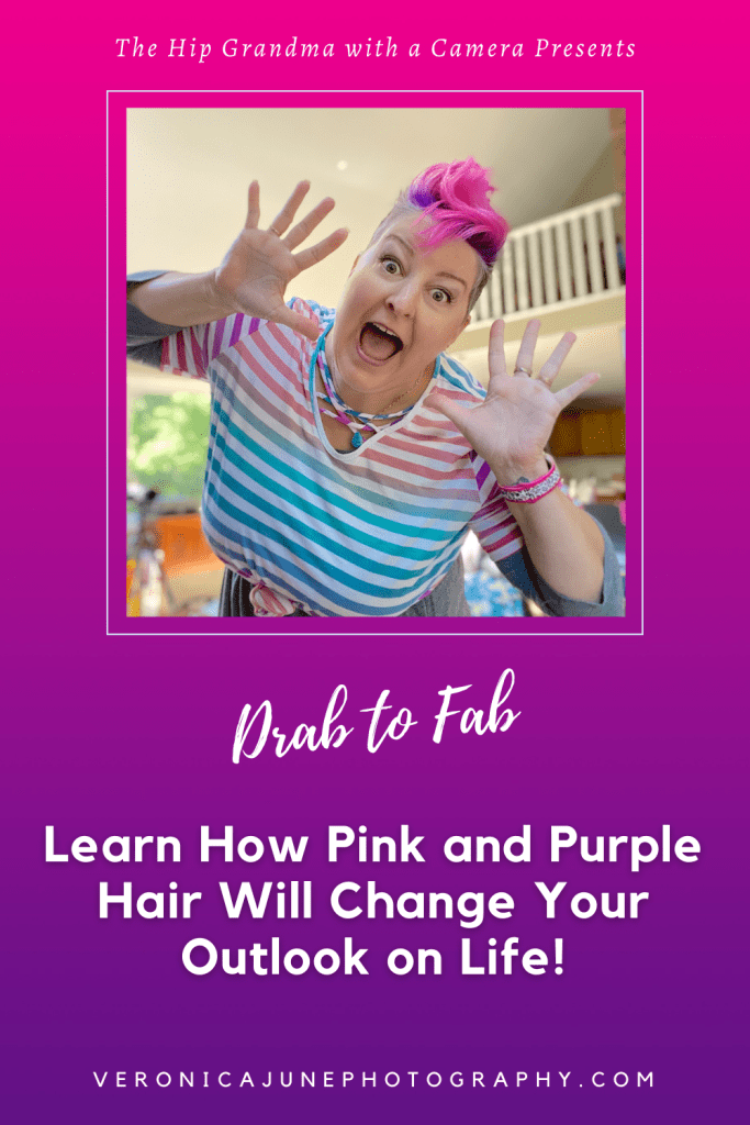 PIN image for pink and purple hair with woman in striped shirt with pink and purple hair, of course