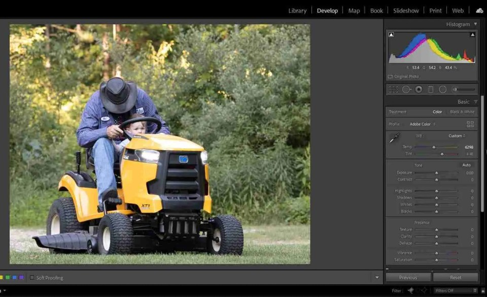 calculating exposure helps create a well-balanced image like this one with a grandpa on a tractor