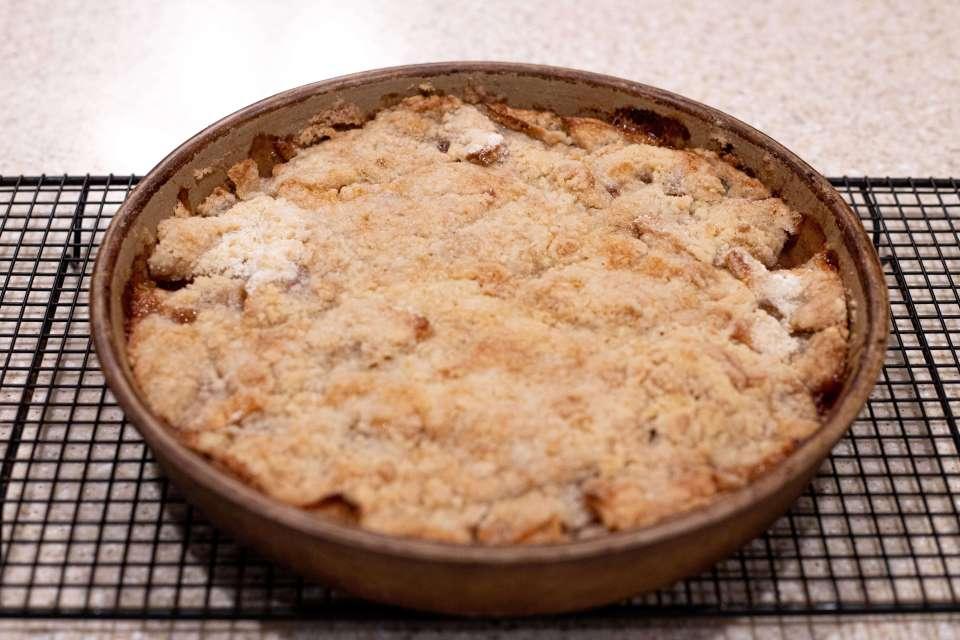 a fully baked pan of grandma's apple crisp