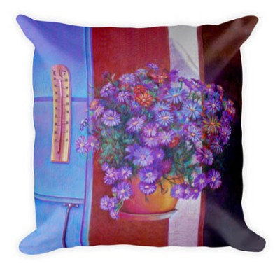 art gifts, unique gifts blue flowers pillow