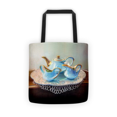 Tote bags for work: Blue teapot set