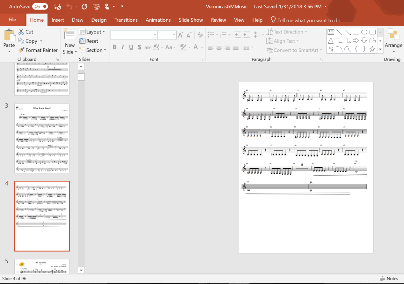 A computer screenshot of sheet music in PowerPoint