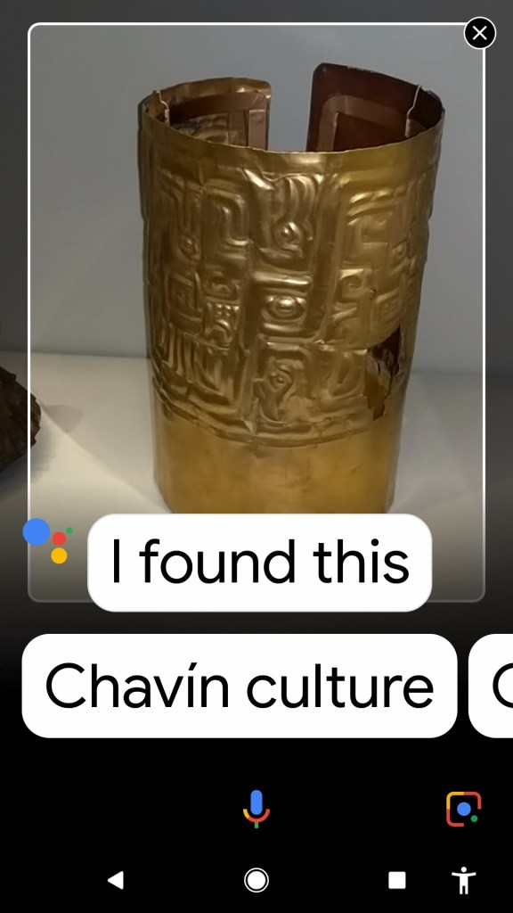 An image of a gold vase with recommendations for information on Chavin culture
