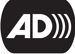 The audio description logo has the letters AD and three parenthesis