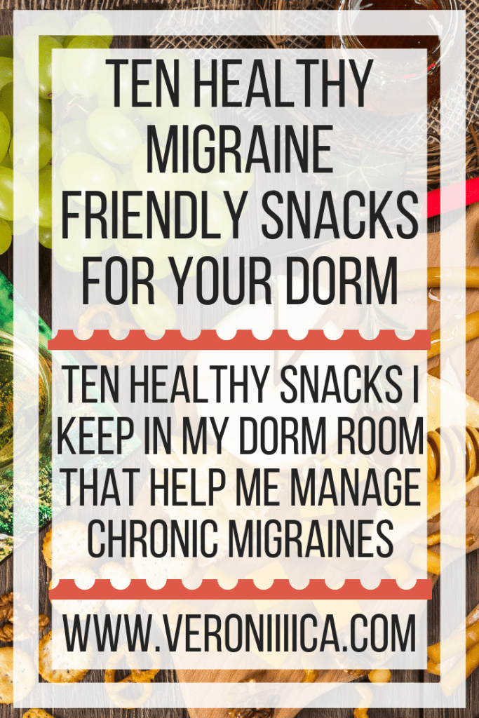 Ten healthy snacks I keep in my dorm room that help me manage chronic migraines. Gluten free, allergy friendly, and vegan options available, as well as refrigerated and nonperishable options