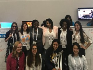 The ten winners of the Microsoft Women in Computing award. I am on the far left, back row