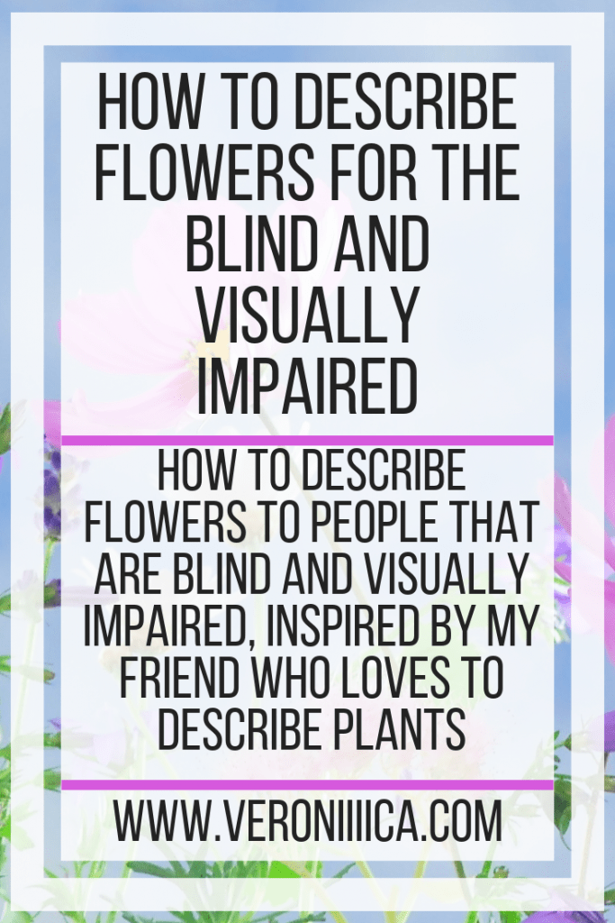 How to describe flowers to people that are blind and visually impaired, inspired by my friend who loves to describe plants