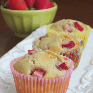 Strawberry Muffins with White Chocolate Chips
