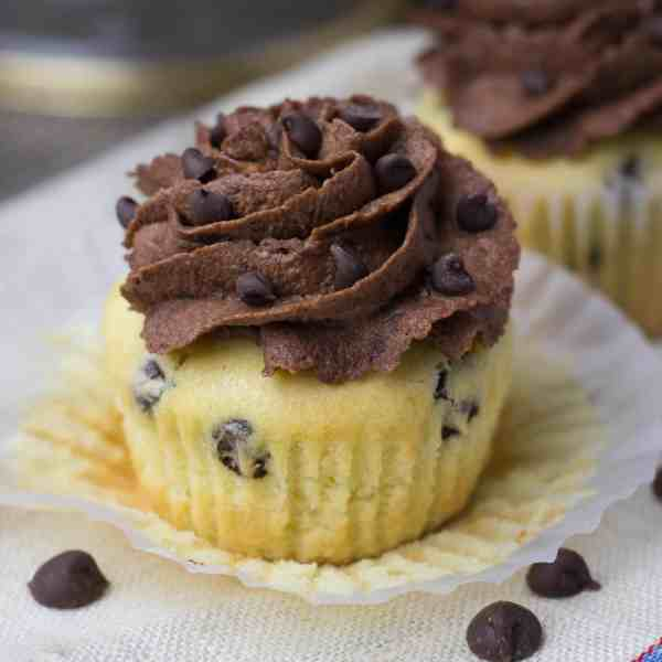 Vanilla Chocolate Chip Cupcakes with Buttercream Frosting
