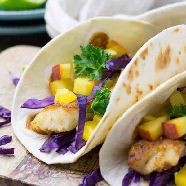 Fish Tacos with Peach Salsa