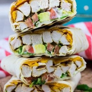 Healthy Chicken Avocado Wraps are a great lunch idea which is delicious, nutritious, and easy to make. Made with grilled chicken, tomato, avocado, and sharp cheddar cheese, topped with ranch and greek yogurt and wrapped in tortilla, it has less calories and more flavor!